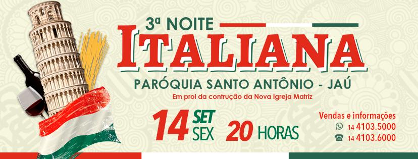 Uma viagem gastronômica pela Itália! É isso que você terá na nossa noite Italiana da Paróquia Santo Antônio em Jaú