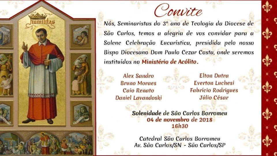 Na Festa de São Carlos Borromeu Seminaristas vão receber o Ministério do Acolitato